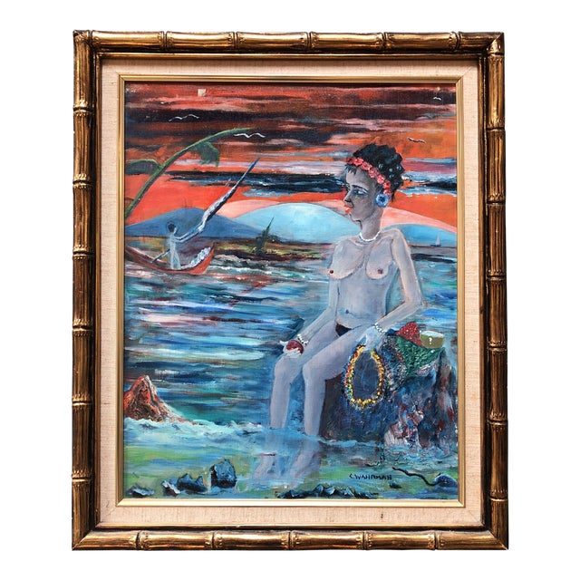 Original Vintage Female Nude in Seascape Painting Signed For Sale