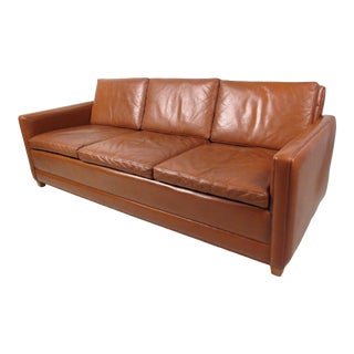 Mid-Century Modern Leather Sofa in the Style of Borge Mogensen For Sale