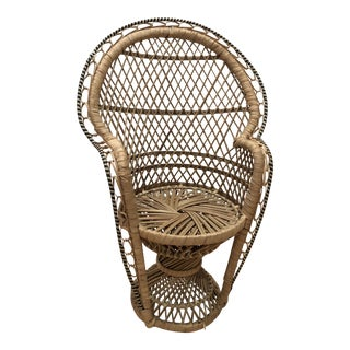 20th Century Boho Chic Mini Rattan Peacock Chair For Sale