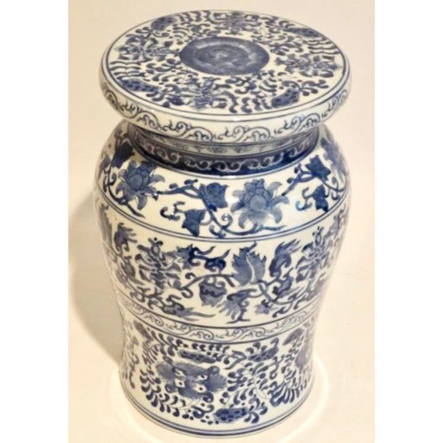 Mid 20th Century Blue and White Ceramic Garden Stool For Sale - Image 5 of 9