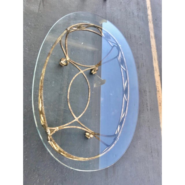 Vintage Oval Metal Glass Top Table For Sale - Image 4 of 9