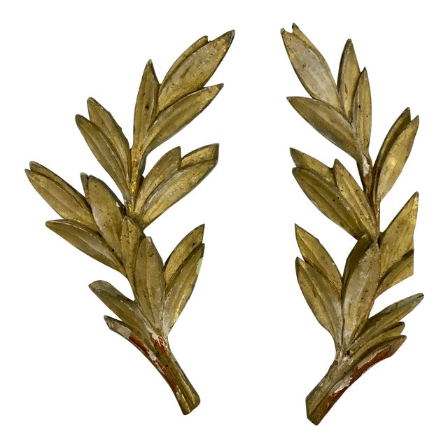 Louis XV Olive Leaf Boiserie Fragments a Pair For Sale