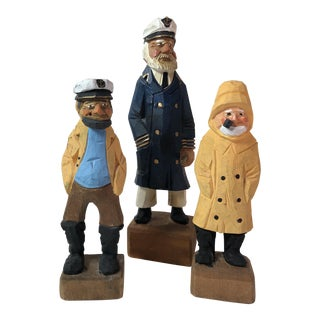 Nautical Handcarved Wood Sea Captains -Set of 3
