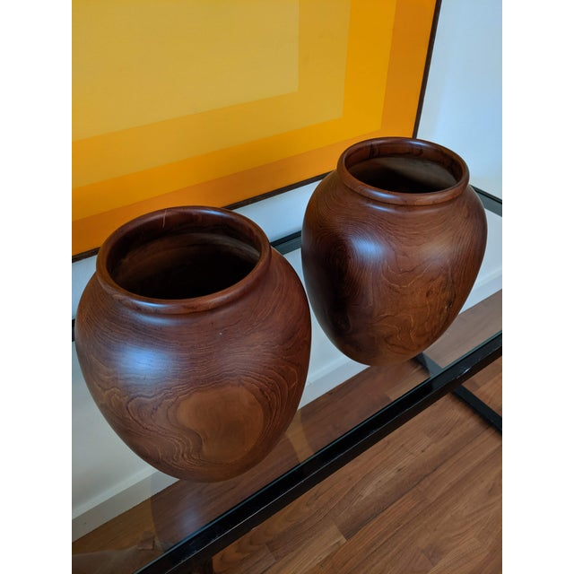 Oversize Turned Walnut Vessels, a Pair For Sale - Image 4 of 12