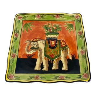 African Traditional West Indies Elephant Plate Square Waves Edge Serving Dinner Plate For Sale