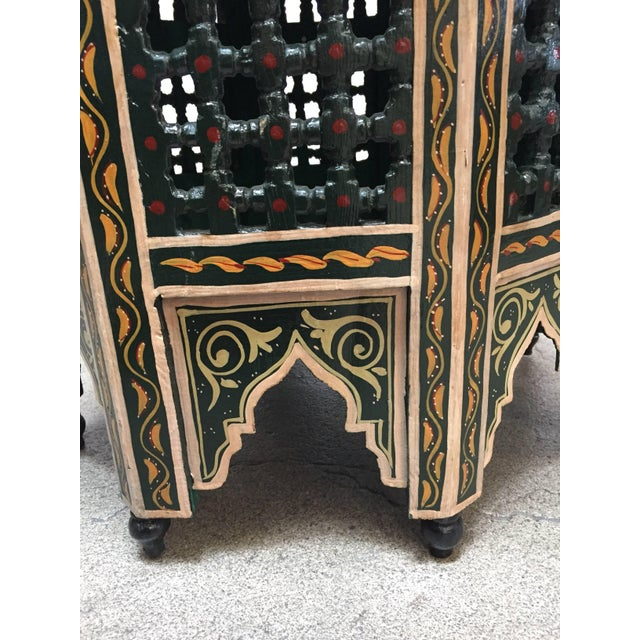 Green Moroccan Hand-Painted Dark Green Octagonal Side Table For Sale - Image 8 of 10