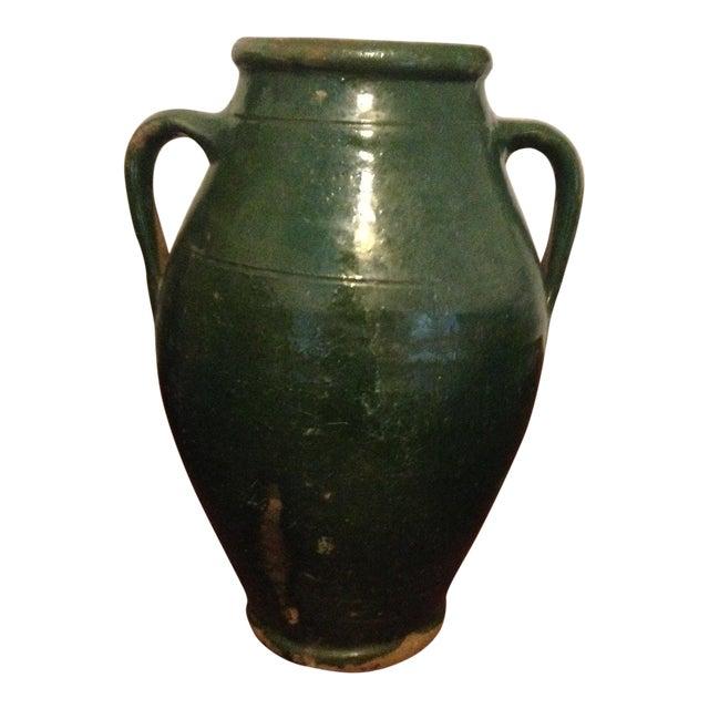 Vintage Turkish Green Pottery Jar For Sale