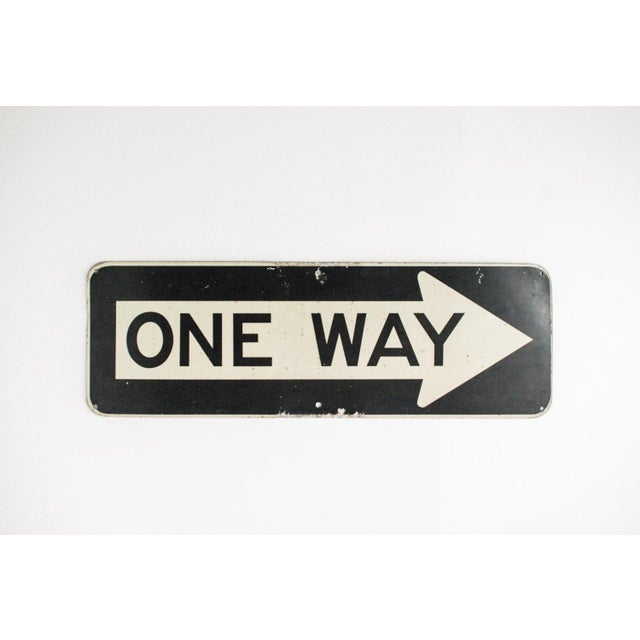 "Vintage Metal One Way 36"" Traffic Road Sign - Image 2 of 6"