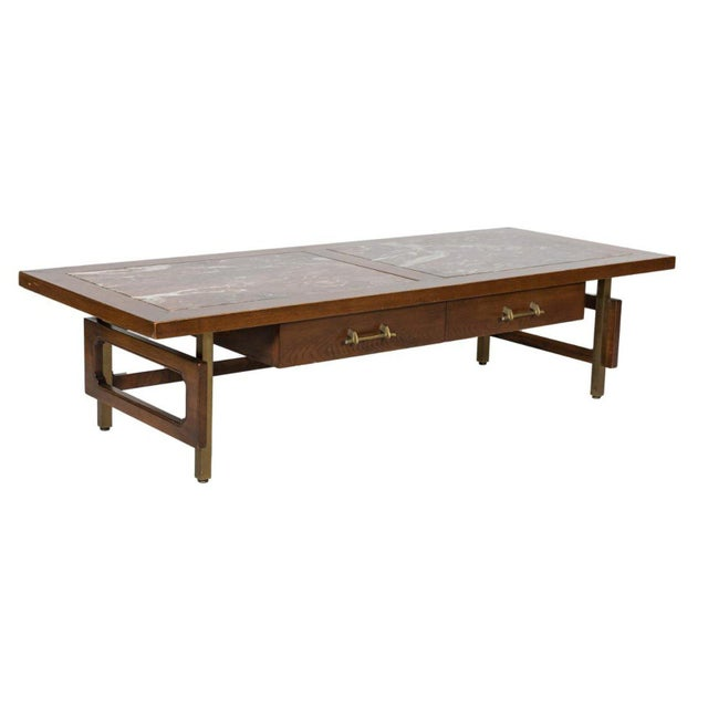 1960s Grosfeld House Marble and Oak Coffee Table For Sale - Image 5 of 5