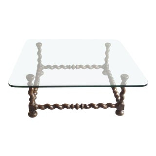 Twist Carved Wood With Glass Top Coffee Table For Sale