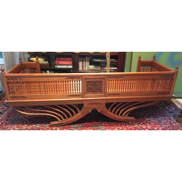 Mid 20th Century 20th Century Asian Thai Howdah Hand Carved Teak Daybed For Sale - Image 5 of 10