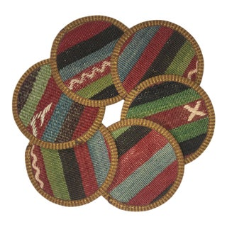 Rug & Relic Kilim Coasters Set of 6 | Yilmaz For Sale