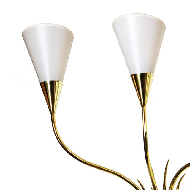 1955-1960 Pair of Wall Lights, Polished Brass, Celluloid Lampshades - France For Sale - Image 4 of 6