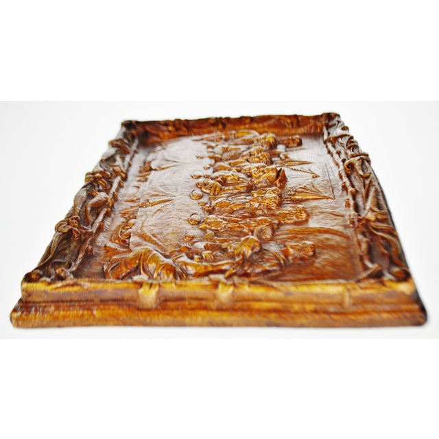 Brown Vintage Last Supper Resin Wall Plaque For Sale - Image 8 of 12