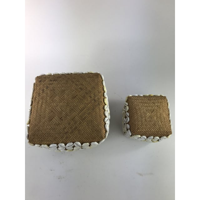 Rattan 1970s Vintage Cowrie Shell Covered Baskets - A Pair For Sale - Image 7 of 10