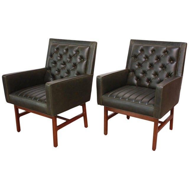 Pair of Milo Baughman for Thayer Coggin Walnut Armchairs - Image 1 of 9