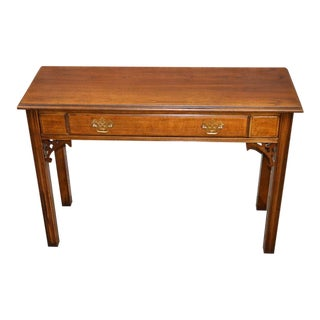 Vintage Lane Chinese Chippendale Cherry Console Table W/ Drawer For Sale