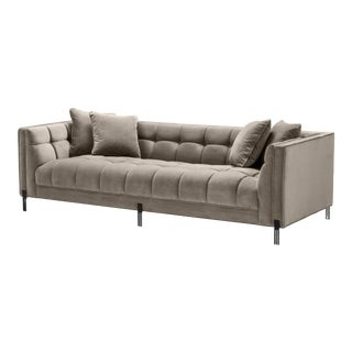 Greige Biscuit-Tufted Sofa | Eichholtz Sienna For Sale