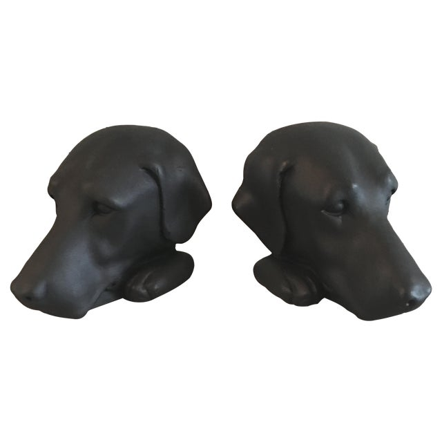 Vintage Black Lab Labrador Bookends - Image 1 of 5