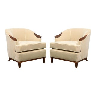 1950s American Mid-Century Modern Ecru Mohair and Walnut Armchairs - A Pair For Sale
