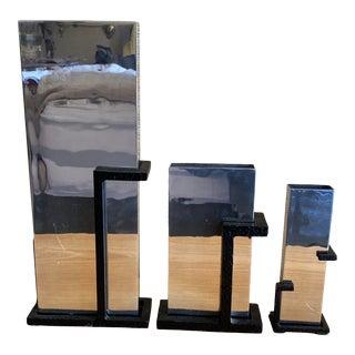1990s Postmodern Michael Aram Chrome & Iron Vases - Set of 3 For Sale