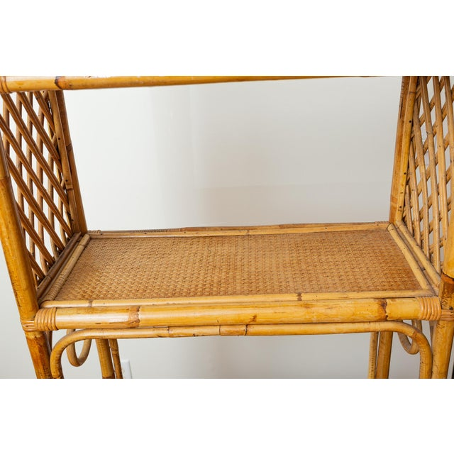 Brown 1960s Boho Chic Bamboo and Wicker Rattan Etagere For Sale - Image 8 of 11