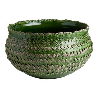Green and Grey Feathered Bowl For Sale