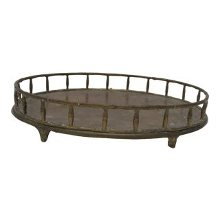 Vintage Brass Oval Tray With Four Petite Legs For Sale