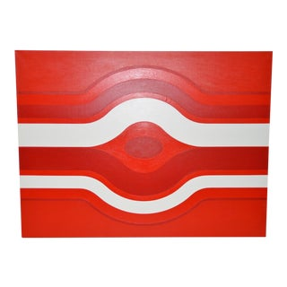 Vintage Red & White Op Art Painting by Charles Hersey C.1970s For Sale