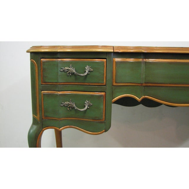 Vintage French-Style Green & Gold Painted Writing Desk For Sale In Los Angeles - Image 6 of 12