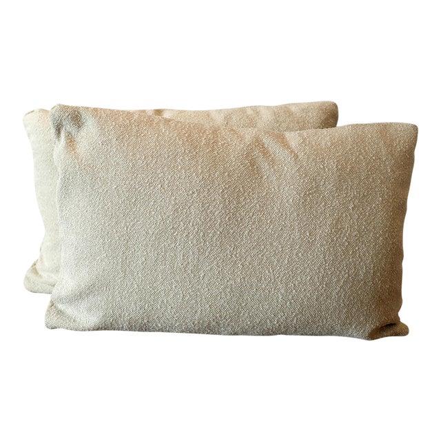 Italian Linen Bouclé Lumbar Pillow Covers - A Pair For Sale