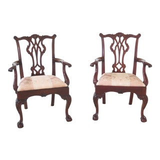 Kindel Winterthur Ball & Claw Chippendale Mahogany Armchairs - a Pair For Sale