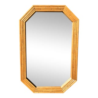 Vintage Mid Century Bamboo Look Wall Hanging Mirror For Sale