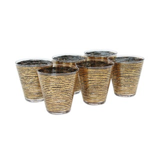 Black and Gold Glass Tumblers, S/6 For Sale