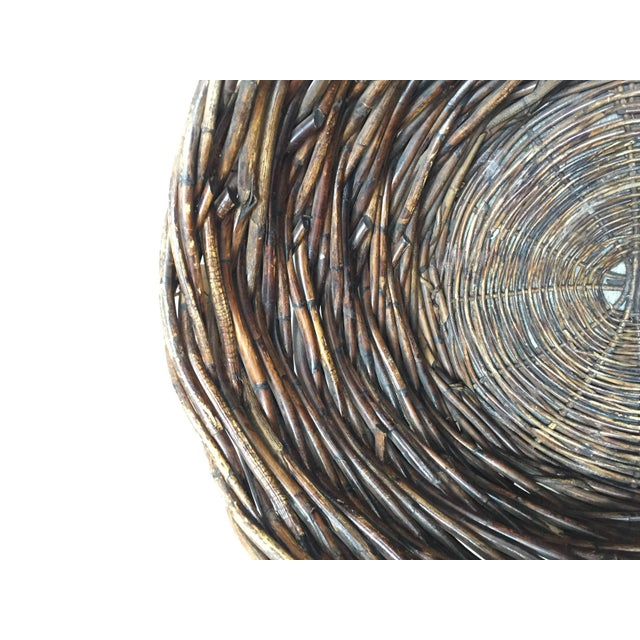 Vintage French Oversized Harvest Wicker Basket For Sale In Los Angeles - Image 6 of 10