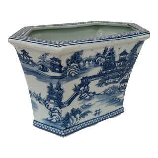 Chinese Blue & White Hexagonal Porcelain Pagoda Cachepot For Sale
