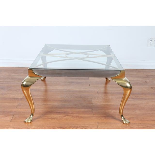 Brass Coffee Table With Glass Top - Image 2 of 10