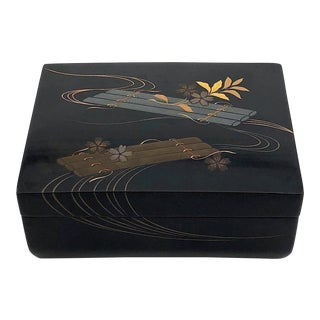 Vintage Japanese Raft and Flower Design Lacquer Box With Silver, Gold and Copper For Sale