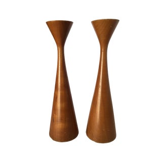 Mid-Century Danish Modern Teak Candlestick Holder by Rude Osolnik, Pair For Sale