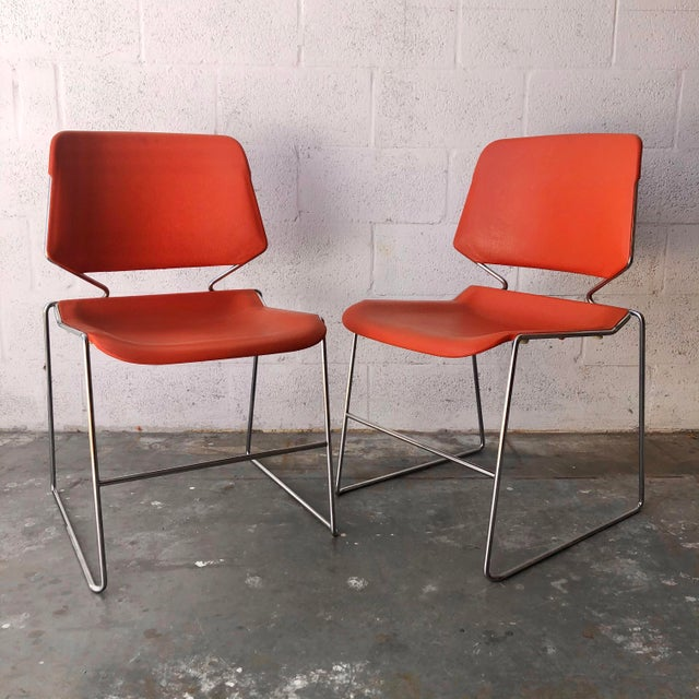 Vintage Mid Century Modern Matrix Krueger Stackable Chairs- Set of Two. For Sale - Image 13 of 13