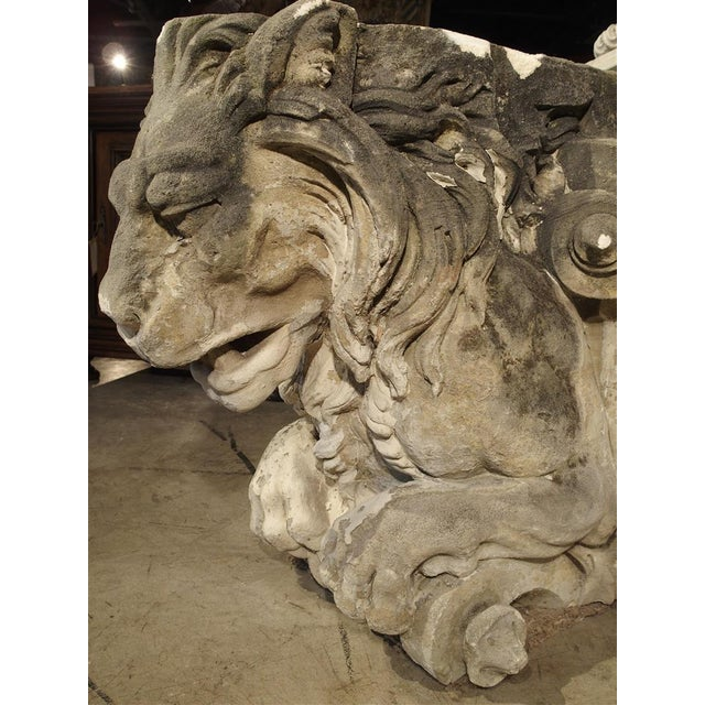 French Magnificent Pair of Antique Stone French Lion Architecturals For Sale - Image 3 of 10
