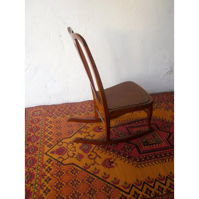 Brown 20th Century Americana Wooden Rocking Chair For Sale - Image 8 of 9