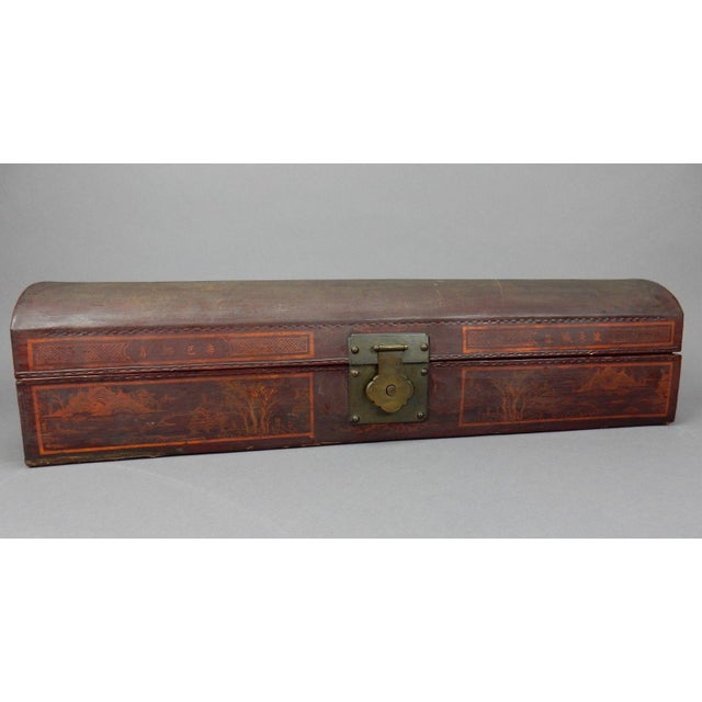 or your Consideration; incredible Antique Chinese Hand Painted Lacquer over pigskin Scroll Box. Leather fitted interior...