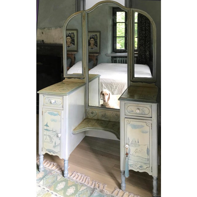 Antique Vanity With Twi-Fold Mirror, Hand Painted by Marie Colette For Sale In Philadelphia - Image 6 of 10