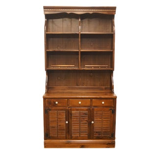 "20th Century Early American Ethan Allen Pine Old Tavern Crp 40"" Shutter Door Cabinet With Bookcase Hutch For Sale"
