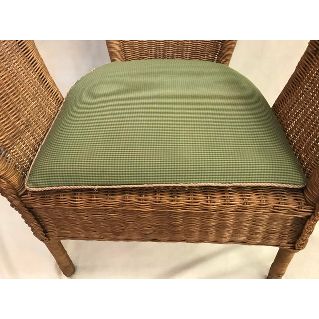 Late 20th Century Vintage Barrel Back Natural Wicker Chair For Sale - Image 12 of 13