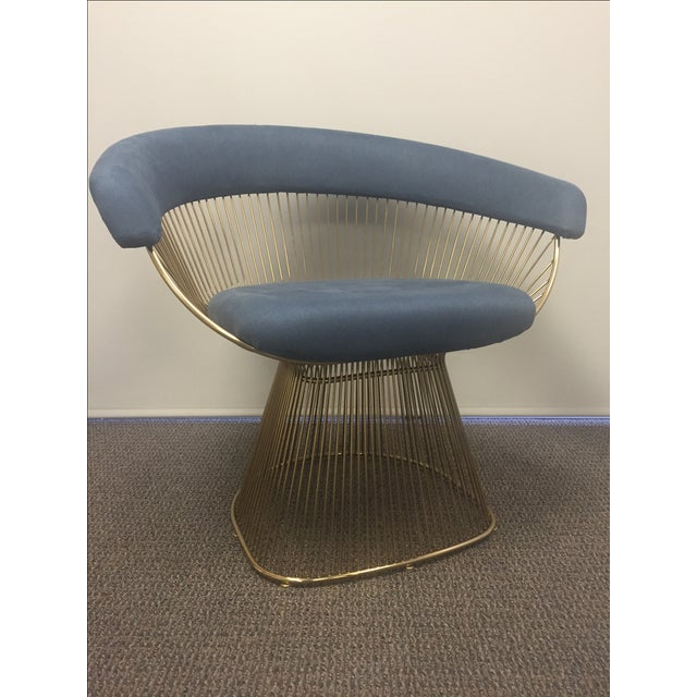 Soleil Style Mid-Century Modern Navy Blue & Gold Accent Chair - Image 3 of 3