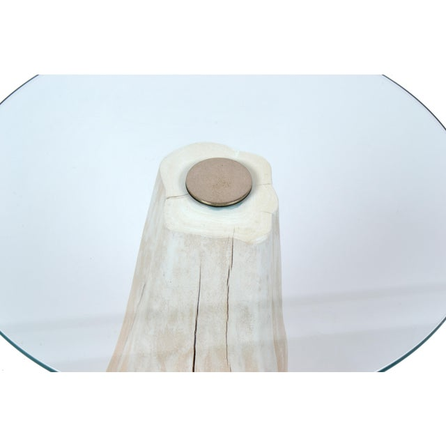 1980s Round Mid-Century Modern Tree Stump Glass Side Table For Sale - Image 5 of 8