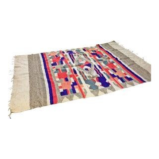 Vintage Native American Loom Woven Wool Blanket