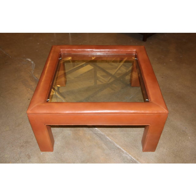 Leather Wrapped Coffee Table With Glass Insert For Sale - Image 10 of 10